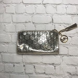 Michael Kors mirrored makeup clutch bag